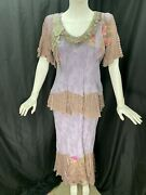 Spencer Alexis 2 Piece Set 8p Top Skirt Mixed Materials Embellished Lace