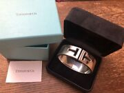 And Co Sterling Silver T Cutout Cuff Bracelet Large Guc Rare Style