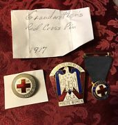 Ww2 U.s.a. Minute Women Hat Badge Pin And 2 Red Cross Pins Lot