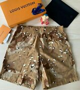 New Louis Vuitton Board Shorts Camouflage Monogram Beige Small Virgil Nigo Yeezy