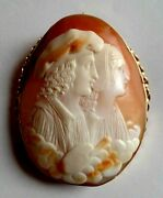 Antique Artist And Model Carved Cameo Pin Brooch With Yellow Gold F