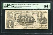Ct-20 1861 20 Csa Confederate States Of America Currency Note Pmg Unc-64epq