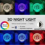 New 3d Led Btc Lamp Room Night Light Bitcoin Souvenir Coin 16 Colors With Remote