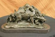 17.5signed Art Statue Bronze Marble Wild Boar Wild Pig And Hunting Dog War Figure