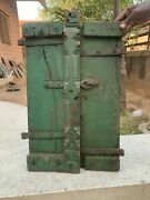 Rare Vintage Wooden Iron Fitted Hand Painted Collectible Indian Old Window Door