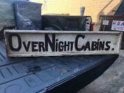 """Vintage C1930 Wooden Sign Overnight Cabins Becket Ma Tourist Stop 60 X 13 X 3 """""""