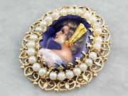 French Enamel Porcelain And Pearl Cameo Pendant