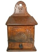 Mid-19th C French Antique Hnd Crvd Decorated 1-drawer Wooden Wall Salt Box W/lid