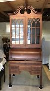 Antique Roll Top Cylinder Front Bookcase Secretary