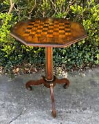 Antique French Checkers And Chess Maple Ormolu Tripodal Game Table Mid 19th Cent.