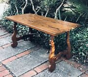 Antique Catalan Spanish Oak Heavy Wrought Iron Coffee Table C. Late 19th Cent.