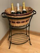 Longaberger Beverage Tub Basket And Wrought Iron Stand Combo - New In Box