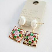 Anthropologie Earrings Cloisonne Pearl Drop Earrings Vintage Style Sold Out Nwt