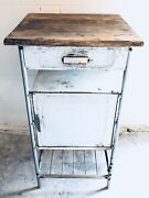Antique Czech Republic Rustic Dentist Doctor Small Metal Wood Top Cabinet