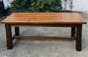 Antique Heavy Tiger Oak English Harvest Farmhouse Country Ranch Dining Table