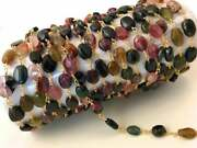 10 Feet Multi Tourmaline Oval 5x8-6x8mm Rosary Beaded Chain 24k Gold Plated Wire