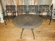 Victorian Style Bistro Table And Four Chairs Outdoor Lifestyle Cast Aluminum