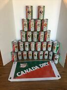 28 Canada Dry Nfl 12oz Soda Cans Complete Set Unopened Unfilled And Tin Sign