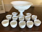 Mckee Concord Milk Glass 13 Punch Bowl 12 Cups Stand/base Wedding White Vtg Set