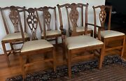 Set Of Six Antique American Hand Crafted Chippendale Dining Room Chairs 1800and039sandnbsp