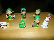 Peanuts Poly Resin Christmas Themed Figures Deluxe Set By Just Play - Lot Of 8