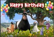 Ferdinand Bull Personalised Birthday Party Banner Backdrop Background