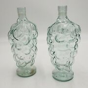 Vintage Pair Clear Glass Grape Cluster Wine Alcohol Decanter Bottle Stands