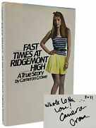Cameron Crowe / Fast Times At Ridgemont High Signed 1st Edition 1st Printing Hc