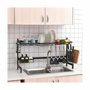 Over The Sink Dish Drying Rack Black, 2 Cutlery Holders Drainer Shelf For Kit...