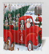 Christmas Express Delivery Red Truck Blue Heeler Dogs Shower Curtain