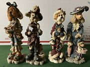 """Lot Of Four Vintage """"boyd Bears And Friends"""" Folkstone Collection Figurines"""