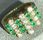 18k Yellow Gold Ring Step-cut Emerald Diamond Vintage Ring Band Size 5.25