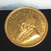 1 Full Ounce Gold Krugerrand Coins 22 Ct. 33.91 G. 1974 With Invoce.