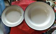 Vintage Kockums Enamelware Sweden 22 Cm Soup Bowl And 18 Cm Plate White And Blue
