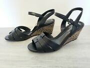 New Easy Spirit Anti Gravity Wicker Woven Wedge Black And Tan Womenand039s Size 8