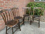 Set Of 4 Antique Vintage Arrow Back Paint Decorated Plank Bottom Chairs