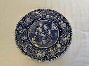 """Antique 10"""" Plate Priscilla And John Aldenwedgwood A,s, Burbank Of Plymouth Ma"""