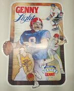 Vintage 1980s Genny Light Beer Advertising Tin Metal Sign Sports For All Seasons