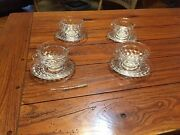Set Of 4 Vintage Fostoria American Clear Glass Tea Cup And Saucer Sets..cube