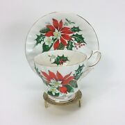 Queen Anne Bone China Noel Tea Cup And Saucer Set Holly Poinsettias