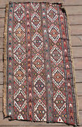 Caucasian Rug 17and039and039x37and039and039 +100 Age Antique Fragment Sumak Kilim 45x95cm