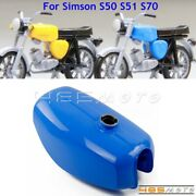 Blue Retro Motorcycle Gas Fuel Tank Replacement Tank For Simson S50 S51 S70 50cc