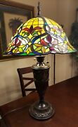 -style 29 Bell Shaped Shade And Stained Glass Base Table Lampgorgeous
