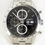 Tag Heuer Carrera Cv2016-0 Chronograph Black Dial Automatic Menand039s Watch Rare