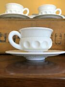 Indiana Kings Crown Thumbprint Opaque White Milk Glass 8 Cups And 8 Saucers/plates