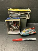 Vintage Wind-up Toys Baby'bot Air Plane Sonicon Rocket Friction China Japan