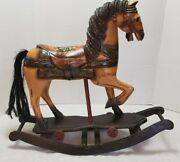 Antique Wooden Horse Childs Pull Toy On Rocking Horse 21 × 18