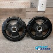 New Pair 2 25 Lb Olympic Weight Commercial Quality Rubber Coated Grip Plates