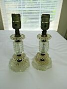 For Parts Vintage Pair Clear Glass Boudoir Nightstand Table Lamps