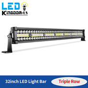 32inch Tri Row Led Light Bar 630w Spot Flood Combo Offroad Bumper Truck Suv 30and039and039